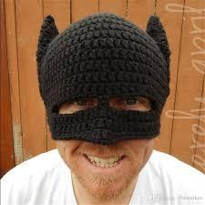 personalized handmade wool hat helmet half mask batman
