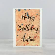 marbled paper card personalised birthday card by six0six design