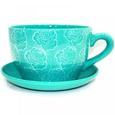 giant tea cup and saucer planter jumbo large teal rose flower