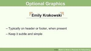 Resume Footer How To Write A Resume For Babysitting With Pictures Wikihow