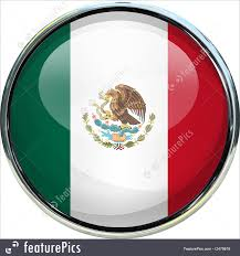 mexico flag 3d button photo