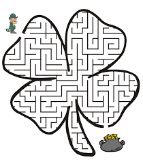 leprechaun coloring pages printable free free printable st patrick s day maze four leaf clover