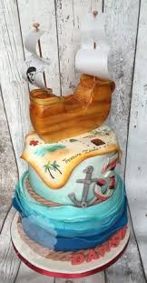 2 tier pirate cake with edible pirate ship birthday pirate