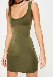 khaki square neck bodycon mini dress missguided