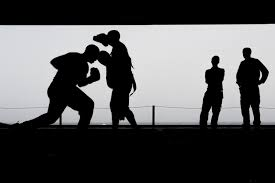 silhouette photo of a men fighting free stock photo