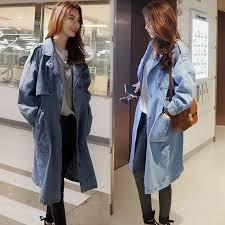 light blue trench coat light blue cowgirl denim coat long trench coat jacket for women