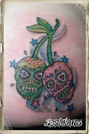 cherry sugar skull by buchtattoo