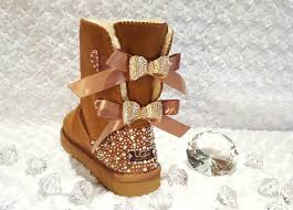 womens ugg bailey boots chestnut bling ugg bailey bow s custom chestnut ugg boots