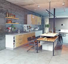 cuisine bois beton cuisine en bois 34 associations réussies avec le béton la