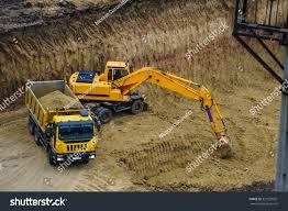 bulldozer excavator truck working hard dig stock photo 521503261