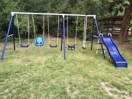 Flexible Flyer Backyard Swingin Fun Metal Swing Set Flexible Flyer Play Around Metal Swing Set Walmart Com