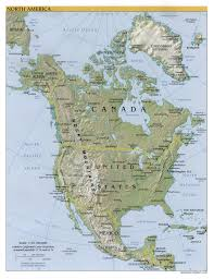 United States And Canada Physical Map by North America Physical Map Of America Throughout North America