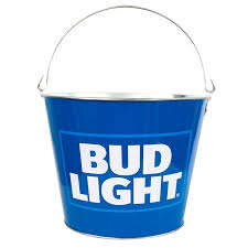 Bud Light Logo Light Logo Blue Metal Bucket