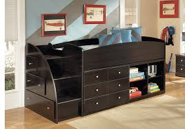 embrace merlot loft bed storage drawers and bookcase with steps