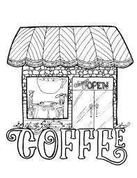 grab these coloring pages in a coffee theme