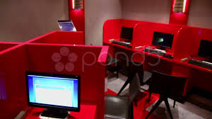 design cyber cafe furniture several workplaces in empty internet cafe with red partitions