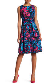 sl fashions printed waist tie fit u0026 flare dress nordstrom rack