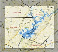 lake lanier map lake lanier waterfront lake homes for sale listed by county
