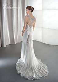 draped wedding dress summer empire wedding gowns chiffon v neck sheer straps draped