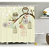 Owl Fabric Shower Curtain Amazon Com Owl Shower Curtain Home U0026 Kitchen