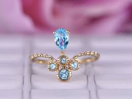 topaz engagement ring 4 6mm blue topaz engagement ring in 14k yellow gold crown for