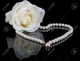 white rose necklace images White pearl necklace and beautiful white rose on a black jpg