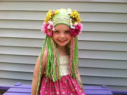 girls wig floral wig flower fairy wig green wig garden