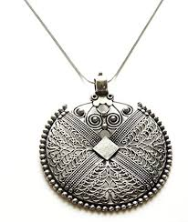 silver girls necklace images Sansar india german silver big round pendant necklace for girls jpg