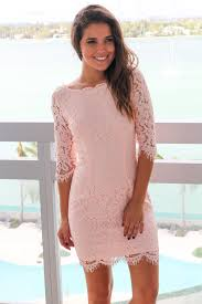 blush lace short dress with 3 4 sleeves short dresses u2013 saved by