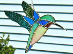Hummingbird Garden Decor Large Aqua And Amber Stained Glass Hummingbird Window Hanging