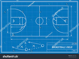Blueprint Math Image Basketball Court On Blueprint Transparency Stock Vector