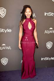 meagan good high neck burgundy celebrity prom dress golden globes