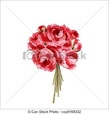 Peonies Bouquet Vector Illustration Of Bouquet Of Red And Pink Peonies Bouquet