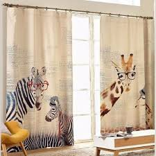 Kid Blackout Curtains Curtains For Living Room Zebra Giraffe Childenr Linen Curtains For
