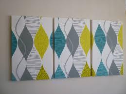 big fabric wall art teal lime green triptych 3 piece modern