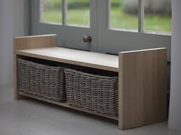 Oak Storage Bench Solid Oak Storage Bench With Baskets Home Interiors Pinterest