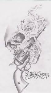 gun tattoo u2013 roses skull drawing tattooshunter com