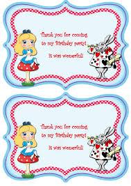 alice in wonderland thank you cards u2013 birthday printable