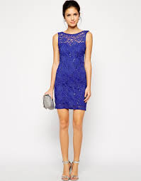lipsy sequin lace bodycon dress in blue lyst