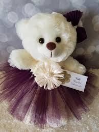 flower girl teddy gift flower girl gift teddy in eggplant tutu dress color the