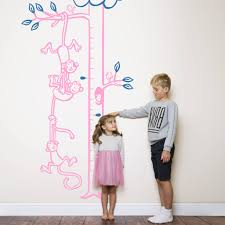 monkeys hanging from tree height chart by wall art