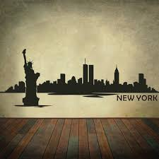amazon com mairgwall vinyl new york wall decal new york city wall amazon com mairgwall vinyl new york wall decal new york city wall decor new york skyline wall sticker wall mural wall graphic living room wall decor black