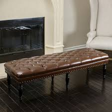 elegant tufted brown leather ottoman bench w nailhead accents