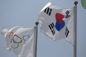 Olimpics Flag File Olympic And South Korean Flag Jpg Wikimedia Commons