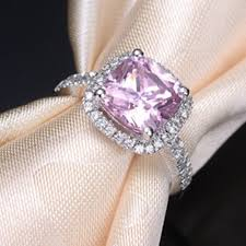 diamond pink rings images Real solid 14k white gold pink jewelry 1ct sona diamond pink ring jpg
