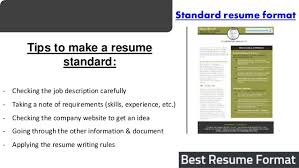 Standard Resume Template Best Resume Format Sample