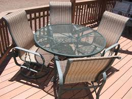 Patio Furniture Sling Replacement Rex H From Arizona Chose Stripe Conch For His Tropitone Patio