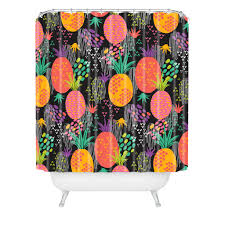 zoe wodarz midnight pineapple shower curtain pineapple shower