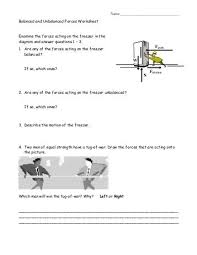 balanced and unbalanced forces worksheet answers balanced and