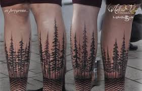 dotwork and forest tree black and grey ink tattoo on leg golfian com